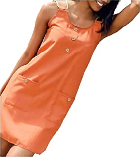 MogogoWomen Sleeveless A-line Solid Colored Loose Tank Dress with Pockets