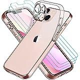 ivoler Funda Compatible con iPhone 13 Mini con Protección de La Cámara, Carcasa Protectora con 3 Piezas Cristal Templado, Transparente Suave TPU Silicona Anti-Choque Caso Delgada Anti-arañazos Case