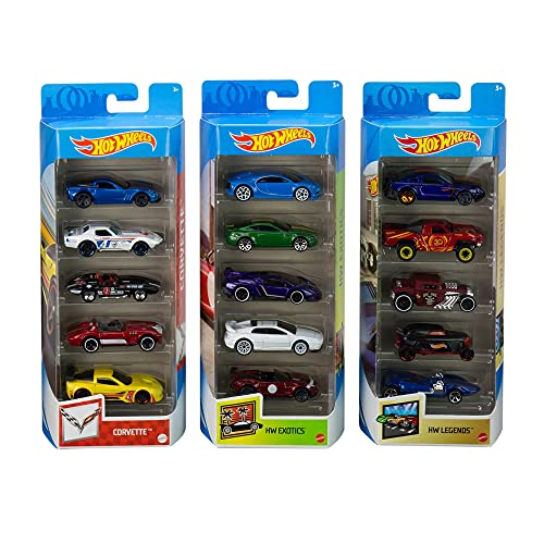 Hot Wheels Variety Fun 5 Pack Bundle of 15 1:64 Scale Vehicles with 3 Themes Corvette, HW Exotics, HW Legends for Collectors & Kids 3 Years Old & Up