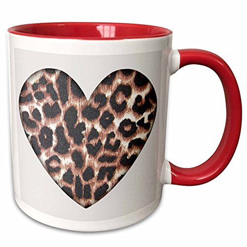 3dRose Heart Leopard Animal Prints Fashion Ceramic Mug, 11 oz, Red/White