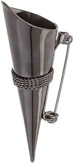 Darice VL1162-13, Lapel Pin Vase with Braid Trim, Black