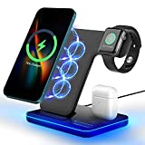 Wireless Charger 3 in 1 15W Fast Wireless Charging Station Compatible with iWatch 6 5 4 3 2 AirPods Pro 2 Compatible with iPhone 12 11 Series XS MAX XR XS X 8 Plus QC3.0 Adapter is Included