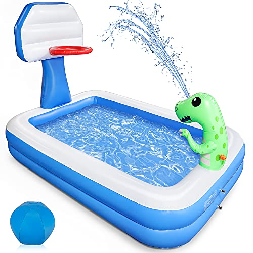 Growsly Inflatable Pool - Swimming Pool for Kids, Blow Up Kiddie Lounge Pool with Basketball Hoop and Dinosaur Sprinkler for Kids Adults Toddlers Age 3+, Outdoor Water Toys for Garden Backyard