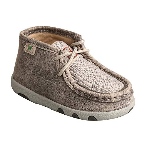 Twisted X Genuine Leather Infant Chukka Driving Moc Shoes, Light Grey, Size 3