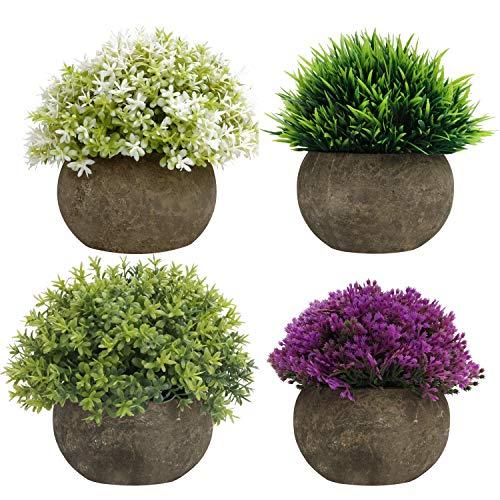 BELLE VOUS Mini Grün, Lila & Weiß Kunstpflanzen Set (4er Pack) - Kleine Kunstpflanzen im Topf für Drinnen & Draußen - Blumen Deko Künstlich für Haus, Büro, Bad, Küche, Schreibtisch und Regal