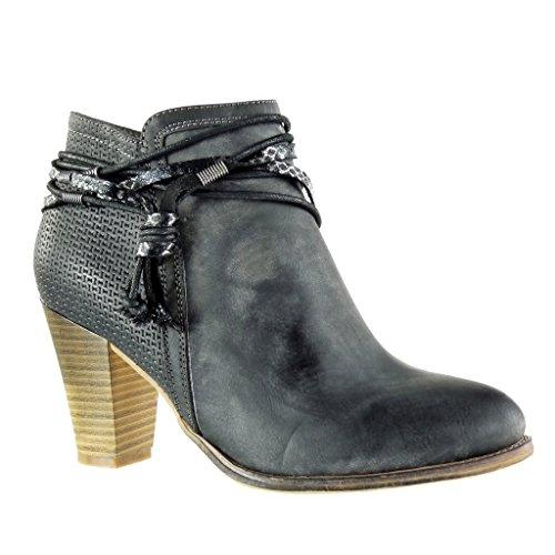 Angkorly - Chaussure Mode Bottine Cavalier bi-matière Femme matelassé Noeud Camouflage Talon Haut Bloc 8 CM - Noir - F2029 T 40