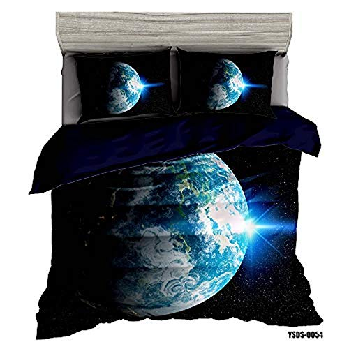 RONGXIE Modern Blue Galaxy Space Planet - Single (135 X 200 Cm) - Bedding Set Children 3-Piece Duvet Cover Set With Pillow Decoration Suitable For Teen Boys And Girls, Without Cover, Polyester/Polye