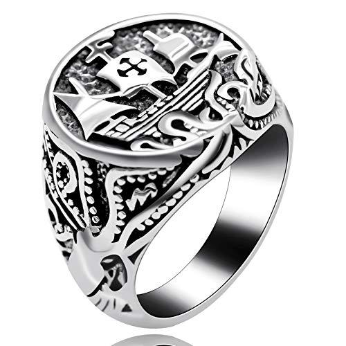 Uloveido Jungen Schmuck Kreuz Ring für Männer Jungen Edelstahl Breite Cocktail Schiff Ring für Sport Urlaub Geburtstagsgeschenk Y521