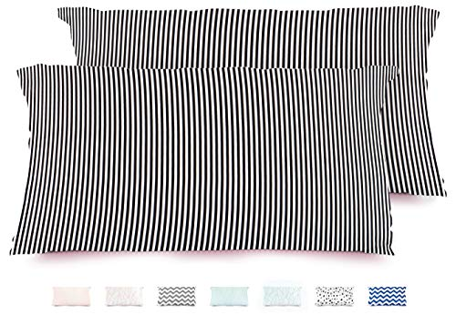 Chateau Satin Silk Pillowcases for Hair and Skin, Envelope Closure, Set of 2 Pack, Modern Black and White Stripes, Cooling Slip Pillow Cases, Designer Printed Patterns, Standard or Queen Size 20x30