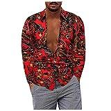 D-Rings Camisa informal de manga larga para hombre, para otoño e invierno, a cuadros, para el tiempo libre, rojo, XXXXXL