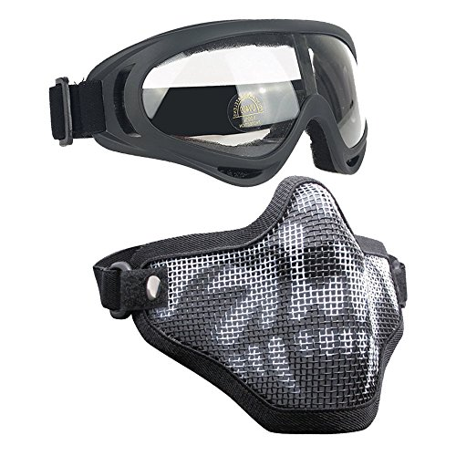 Infityle Airsoft Masks- Adjustable Half Metal Steel Mesh Face Mask and UV400 Goggles Set for Hunting, Paintball, Shooting (1 Set Black Skull, 1 Set)