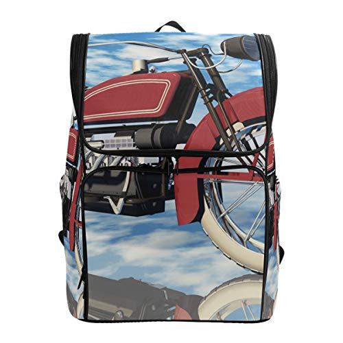 Fantazio Sac à Dos pour Ordinateur Portable Motif Moto Classique Sac à Dos de Voyage randonnée Camping Sac à Dos décontracté Grand Format