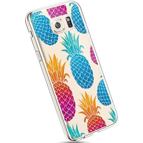 Ysimee Hülle kompatibel mit Samsung Galaxy S6 Handyhülle, Transparent Weiche Silikon Schutzhülle Muster Blumen [Crystal Klar] TPU Bumper Dünne Stoßfeste Protective Hülle, Bunte Ananas
