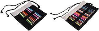 Prettyia 2Pcs Canvas Pencil Roll Up Wrap Makeup Brush Wrap(Color Pencils Included)