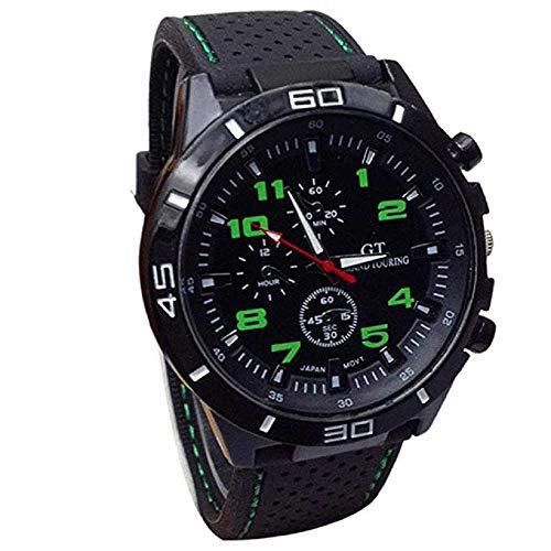 WSSVAN Reloj, reloj de cuarzo militar de los hombres de la moda reloj de deportes extremos carreras de silicona esfera grande reloj de los hombres reloj de cuarzo de los hombres de negocios (Verde)