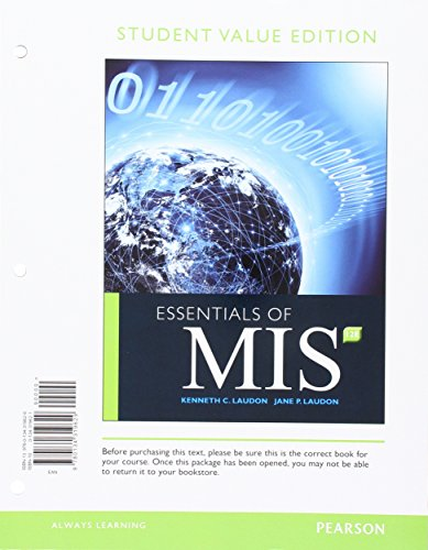 Essentials of MIS, Student Value Edition (12th Edition)