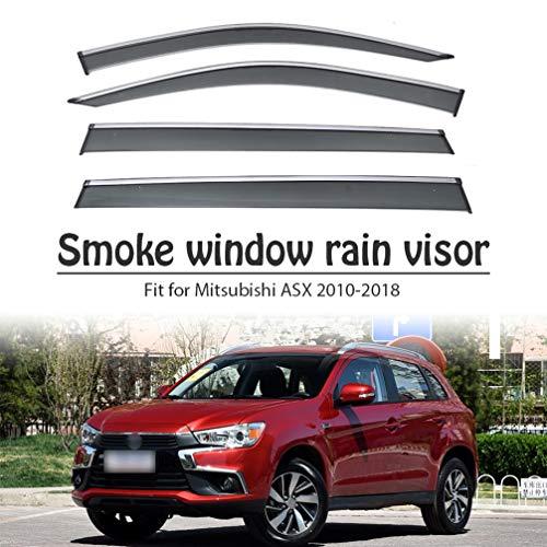 BTSDLXX 4Pcs Car Side Fensterabweiser Windabweiser, für Mitsubishi ASX 2010-2018 Weathershields Window Visier, Fenster Schutz Sonne Regen Dunkel Rauchabzug Schatten Auto Zubehör