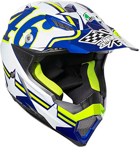 AGV Unisex-Adult Off-Road AX-8 Evo Motorcycle Helmet Blue/White/Yellow X-Large