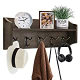 Y&ME Coat Hooks with Shelf Wall Mounted, Coat Rack for Wall with Shelf, Rustic Wood Entryway Shelf with 5 Vintage Metal Hooks Coat Hanger with Shelf for Entryway, Mudroom, Kitchen, Bathroom