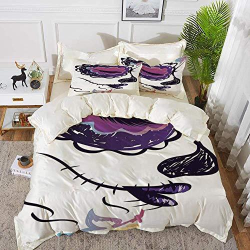 ropa de cama: juego de funda nórdica, decoración del día de los muertos, carita de calavera de azúcar con arte mexicano dibujado a mano, púrpura, funda de edredón de microfibra hipoalergénica