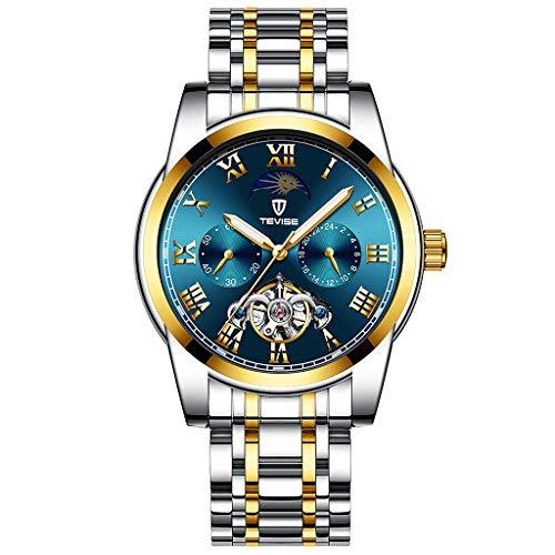 Hellery Elegante Reloj de Pulsera de Estilo Empresarial Reloj Cronógrafo con Banda de Acero Inoxidable - Plata Oro Azul