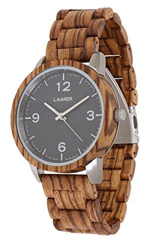 LAiMER 0087 - ELIA, Orologio analogico da polso al quarzo, con cinturino in legno Zebrano, marrone, donna