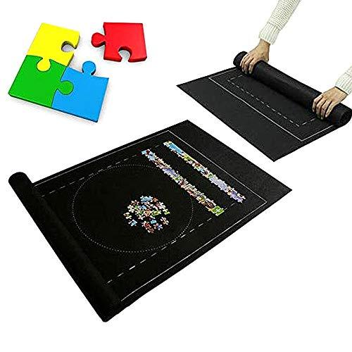 Puzzle Roll Mat(Single) Puzzle Roll Up Spielmatte Puzzle Filzmatte Kinder Puzzle Store Mat Puzzle Roll Up Spielmatte zum Bis zu 1500 Puzzleteile,Erwachsene Kinder Zuhause Puzzlespiel Mat (Schwarz)