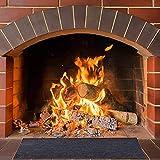 Gpure Alfombra Piso Chimenea Ignifuga 260° Gris 48-72 Inch Resistente al Fuego Vinilica Poliéster Rectangular Alfombra Fogatas para Barbacoa,Hogar