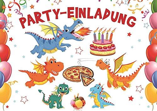 10-er Set Lustige Dinosaurier/Drachen-Einladungskarten zum Kindergeburtstag/Geburtstagseinladungen Jungen Mädchen Kinder von EDITION COLIBRI (10863)