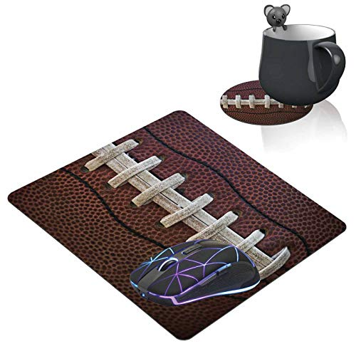 Mouse Pad and Coaster Set,American Football Mousepad Non-Slip Rubber Gaming Mouse Pad Rectangle Mouse Pads for Computers Laptop