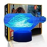 KangYD Velero pirata con luz nocturna LED, lámpara de ilusión 3D, lámpara visual, F- Base de audio Bluetooth (5 colores), Regalo de San Valentín, Lámpara de ilusión óptica