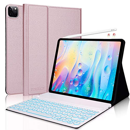 iPad Pro 12.9 2020/2018 Keyboard Case 4th 3th Generation 7 Color Backlit Wireless iPad Keyboard [Support Apple Pencil Charging] - Slim Leather Cover for Apple iPad Pro 12.9 2020 2018 (Rose Gold)