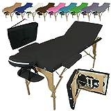 Vivezen Table de massage pliante 3 zones en bois avec panneau Reiki + Accessoires et...