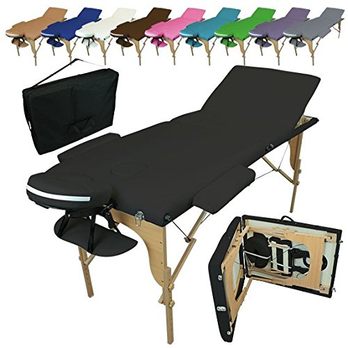 Linxor France  Table de massage pliante 3 zones en bois avec panneau Reiki + accessoires et housse de transport, Noir