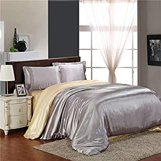 UniTendo Luxury 4-Piece Satin Silky Bed Sheet Set Bedding Collection,Duvet Cover Sets,Queen, Silver Grey Light Tan.