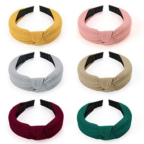HBselect 6 stk StirnbandDamen KopfbandHaarreife Haarband vintage Kopf Warp mit Knoten koreanisches und verknotetes Haarband im Retro Style für Damen