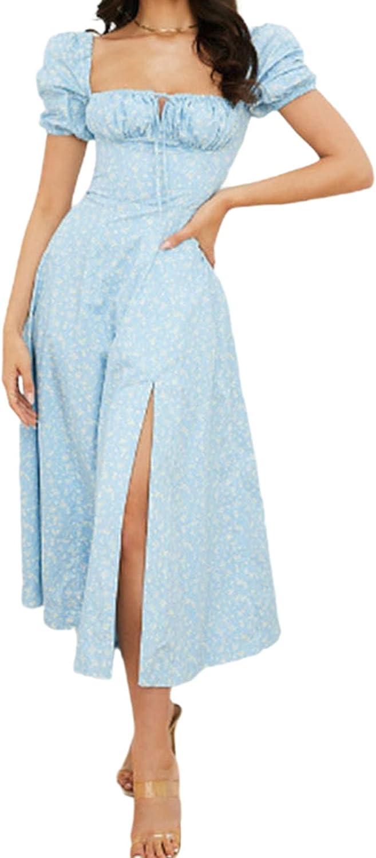 Linsery Women's Floral Cottagecore Dress Picnic Dress Split Long Party Maxi Dress