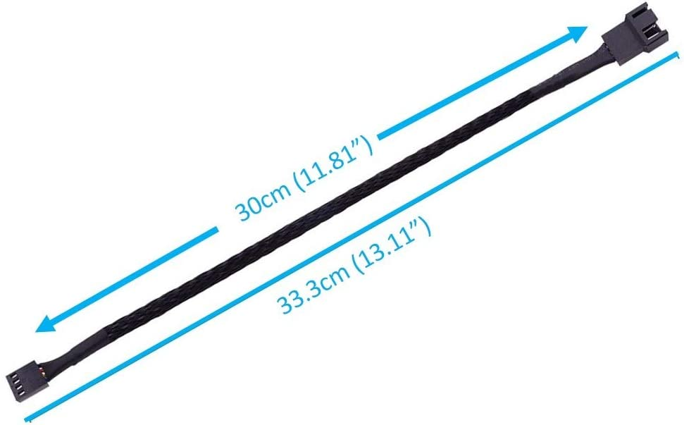3 pin 4 pin Case Fan Power Extension Easycargo 30cm Case Fan Extension Cable 1-Pack PWM Fan Cable Extension