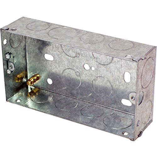 Lussen 478 25mm Tweeling/Dubbele Metalen Flush Mounted Back Box-2 Bende Baksteen Wandgat Pattress, 1 - Pack