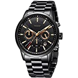 WISHDOIT Hombre Elegante Deportes Reloj de Cronógrafo de Cuarzo Analógico Impermeable con Moda Negro Pulseras de Acero iInoxidable 9866B