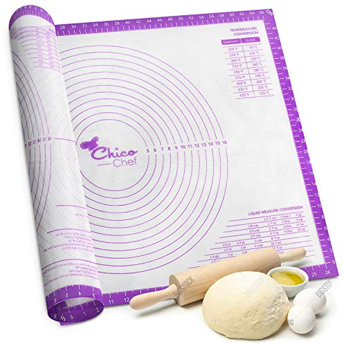 Silicone Pastry Mat for Rolling Dough Non Stick, Extra Large with Measurements, Baking Mat, Dough Rolling Mat, Counter Mat, Fondant, Pastries, Pie Crust 28' by 20'