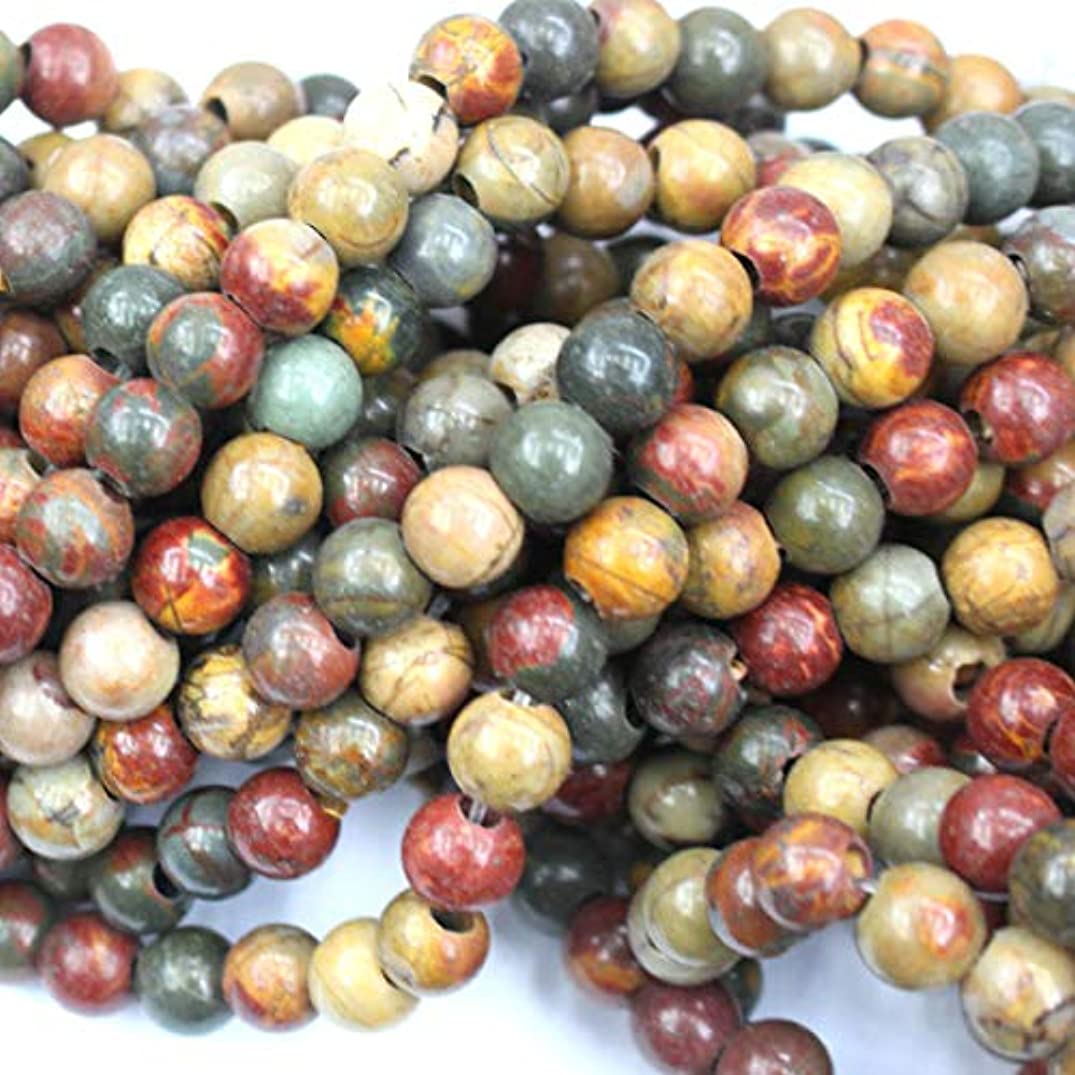 Natural Large Hole Gemstone Round 3mm Hole 8mm Fit Leather Cords for DIY Necklace Gemstone Loose Beads (Picasso Jasper, 8mm 3mm Hole)