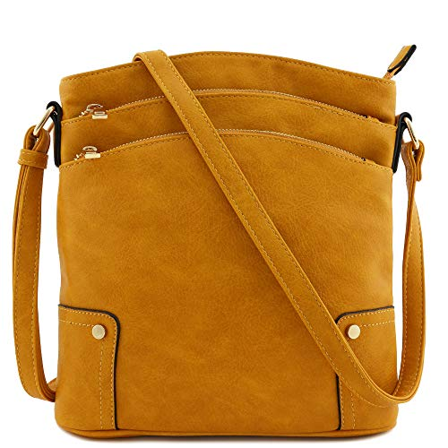 Triple Zip Pocket Large Crossbody Bag (Mustard)