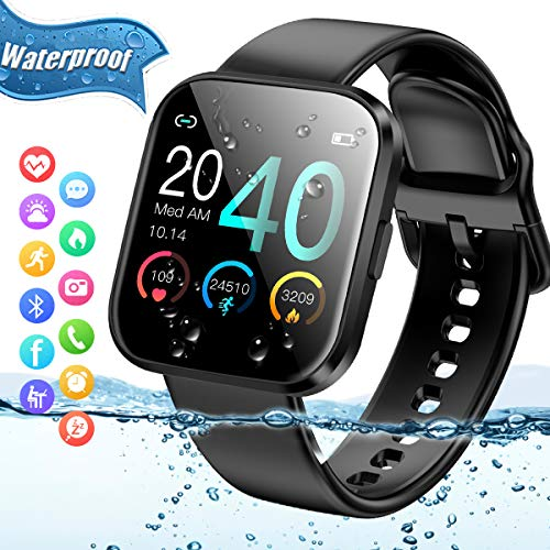 Smart Watch,Bluetooth Smartwatch Touch Screen Sports Fitness Watch Activity Tracker with Heart Rate Blood Pressure Monitor IP67 Waterproof Fitness Tracker Watch for Android iOS Phones