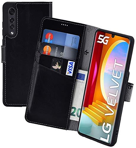 Suncase Book-Style Hülle kompatibel mit LG Velvet 5G Leder Tasche (Slim-Fit) Lederhülle Handytasche Schutzhülle Hülle mit 3 Kartenfächer in schwarz
