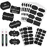 Mantah Chalkboard Label Stickers 96pcs - 9 Assorted Shapes in 3 Sizes with 2 White Chalk Marker, Reusable Waterproof Chalk Label for Storage Bin, Labels for Food Container, Label for Jars, Containers