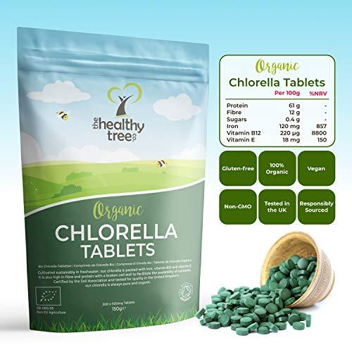 Compresse di Clorella Bio di TheHealthyTree Company - Alto Contenuto di Vitamine B12 ed E, Ferro, Proteine ed Amminoacidi - Muro Cellulare Rotto/Spezzato in UK Chlorella Vegana, 300 x 500mg (150g)