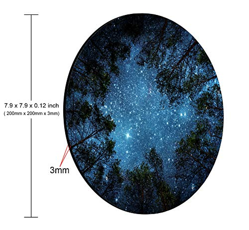 Smooffly Beautiful Night Sky Round Mouse Pad, The Milky Way and The Trees Mouse Pad,Sublime Forest Nature View Circular Non-Slip Rubber Mousepad Gaming Mouse Pad Photo #5