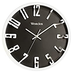 Westclox 32913 Round 3D Number Wall Clock, 12 Inch, Metallic