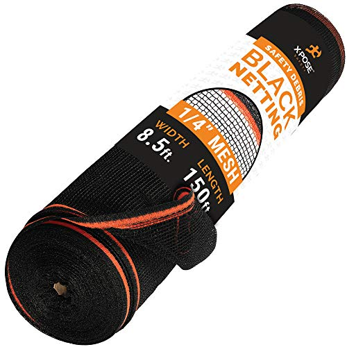 Construction Safety Debris Netting - 8.5 Ft x 150 Ft Temporary Material Roll, 1/4 in Mesh Scaffold Net Enclosure, Barricade, Visibility Barrier, Fencing Roll-Heavy Duty Fire Retardant Plastic - Black